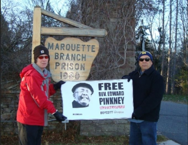 Local supporters protesting Rev. Edward Pinkney's solitary confinement at Marquette Branch Prison, Nov. 22, 2015.