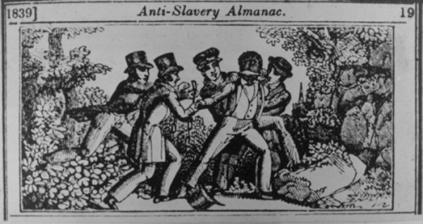 An 1839 woodcut depicts a slave patrol capturing a fugitive.